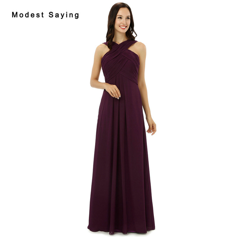 Cheap Wholesale Purple   Bridesmaid     Dresses   2017 with Straps Formal Women Chiffon Maid of Honor   Dresses   Pleated Party Prom Gowns