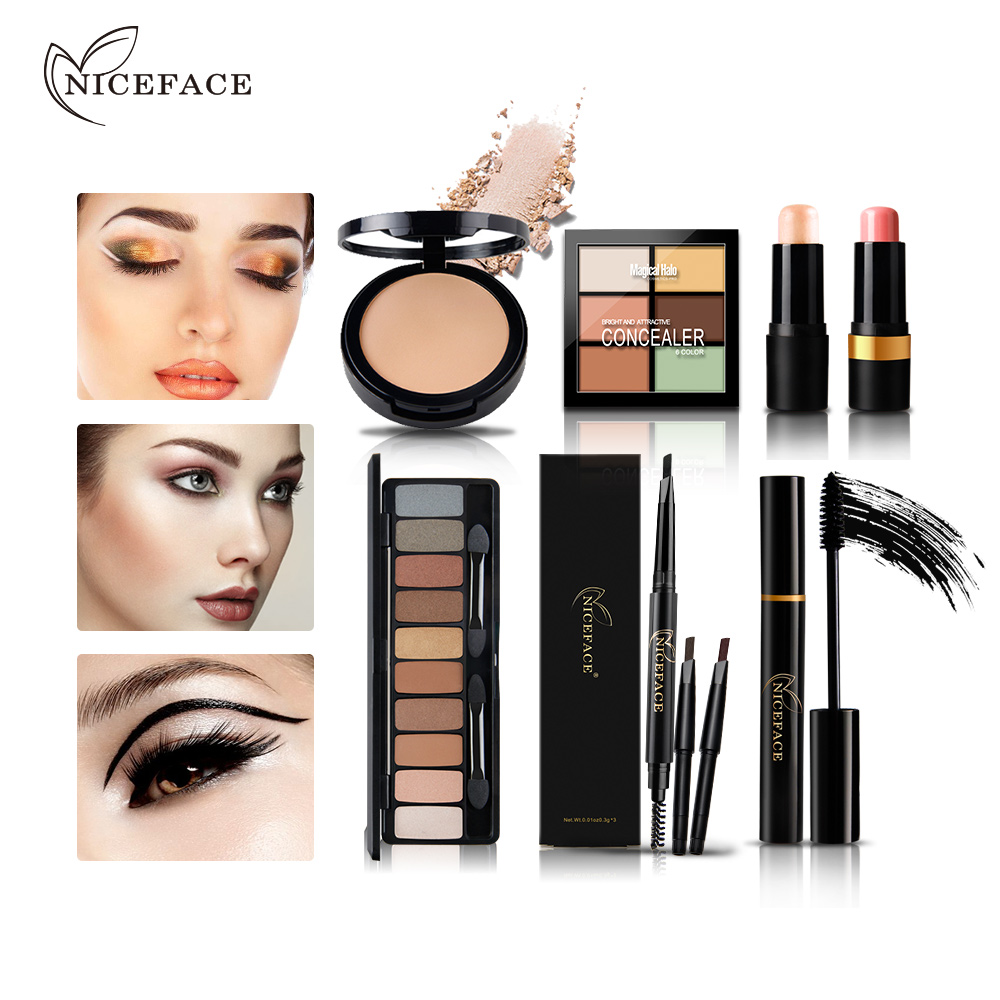 NICEFACE Makeup Set Eyebrow Pencil Brushes Concealer Powder <font><b>Contour</b></font> Eye Shadow Palette Eyelashes Mascara Blush Highlighter Stick