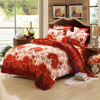 Winter Bedding Set Soft Thickening Flannel Warm Beautiful Luxury Full Sheet Duvet Cover Sets Butterfly Roses