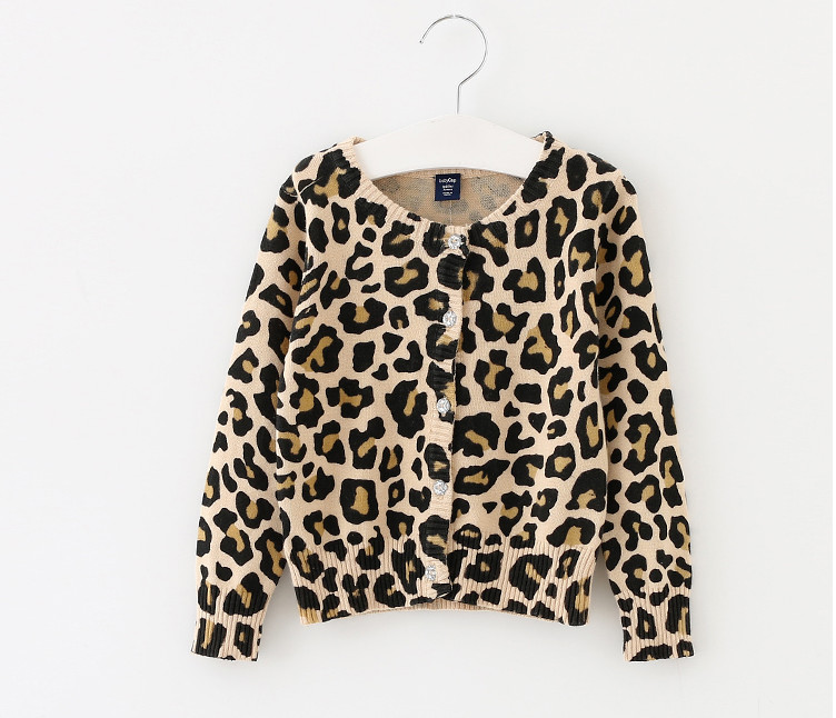 New Baby Leopard Knitted Sweater Kids Clothes Wear boys and girls cardigan sweaters cotton coats Fashion children Clothing gift