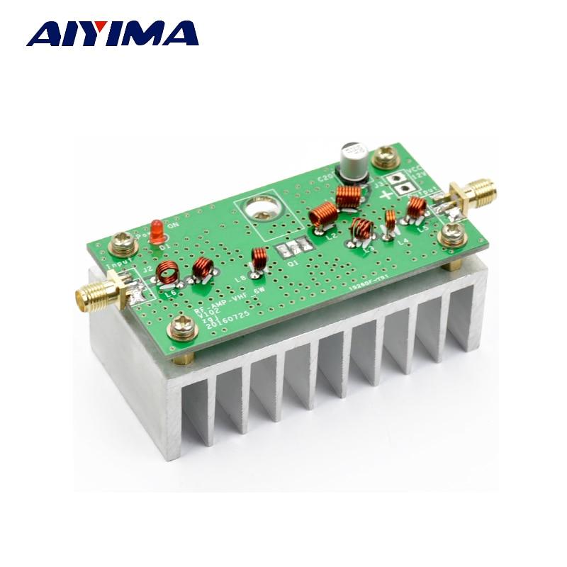 Aiyima 88-108MHZ 6W VHF Power Amplifier Finish Board For FM Transmitter RF Radio Ham With Heatsink aiyima amplifier power rectifier filter board with imported original origin bc with philips capacitor
