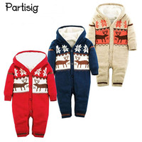 Baby Winter Romper Jumpsuit Clothing Hooded Thickened Christmas Romper For Baby Boy Girl Cotton Thread Knitted Romper Clothes