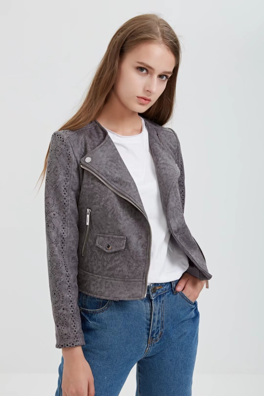 Carved Brogue Women Soft   Suede   Faux   Leather   Jackets Vintage Turn-Down Collar Zipper Hollow Out Matte Coat Retro Grey Outterwears