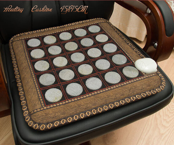 2018 China Free shipping Jade cushion warm jade massage cushion electric heated seat cushion 45*45CM newest drivers car massage cushion seat jade heating kneading massage cushion free shipping
