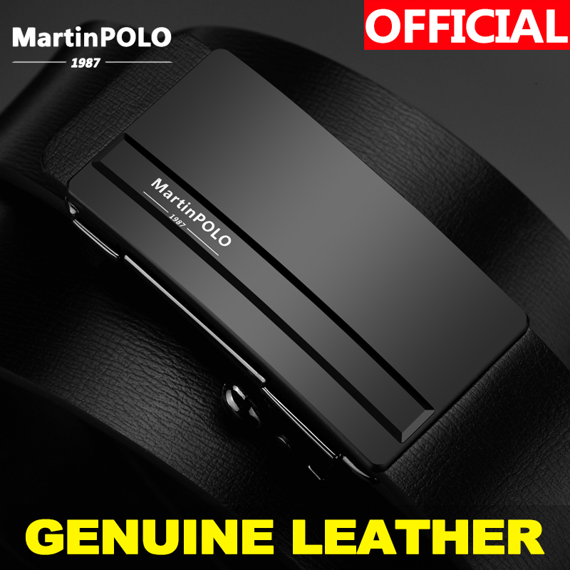 MartinPOLO Mens Automatic Belt Buckle Leather Belts Jeans Wear Leather Belts Waist Strap Belts Male Cowhide For Men MP01201P