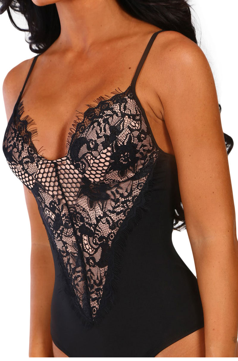 Black-Forever-Flawless-Red-Lace-Bodysuit-LC32377-2-3