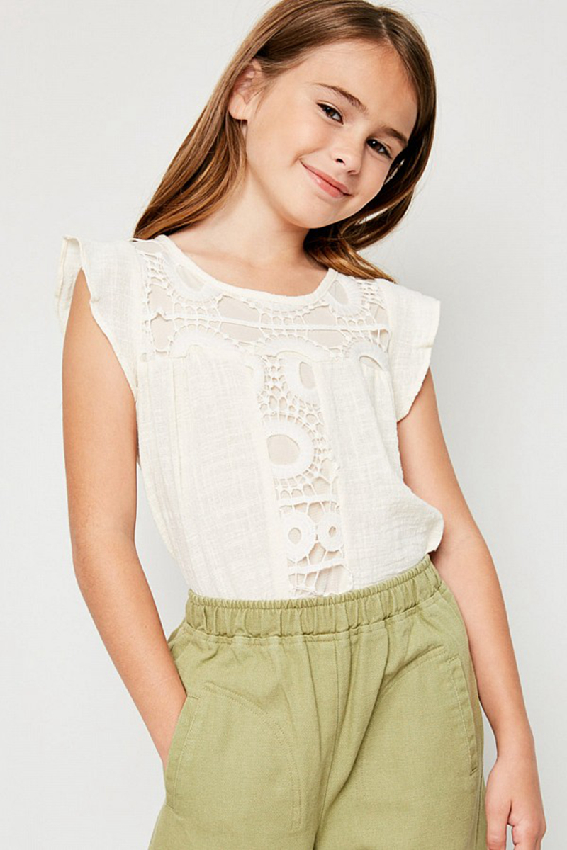 Big Girls Crochet Lace T-shirts Teenager Fashion Cotton Jumper Tees 2018 Kids Clothing Baby Girl Summer Clothes