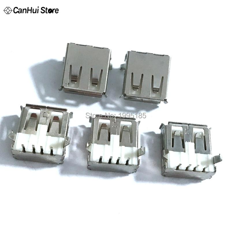 20Pcs USB Type A Standard Port Female Solder Jacks Connector PCB Socket USB-A Type Female 4 Pin USB Type A Standard Port Female