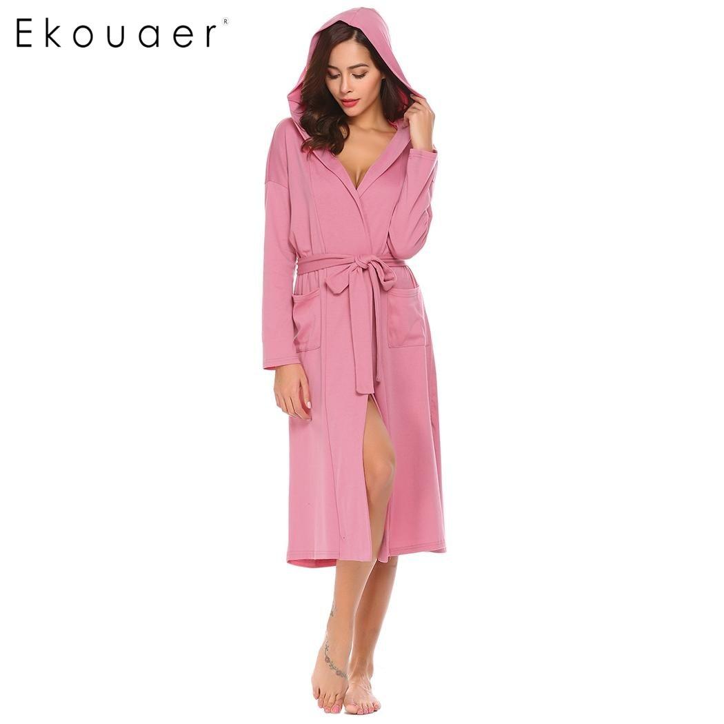 Ekouaer Women Sleepwear Nightwear Kimono Robe Hooded Bathrobes Long Sleeve  Soft Plush Long Dressing Gown Bathroom Robes 5d41055d9