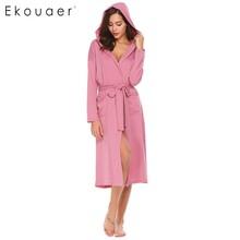 Ekouear Women Robes Long Sleeve Bathrobe Pockets Solid Sleepwear Long Robe With Belt Night Robe Bath Robe Felmale Dressing Gown