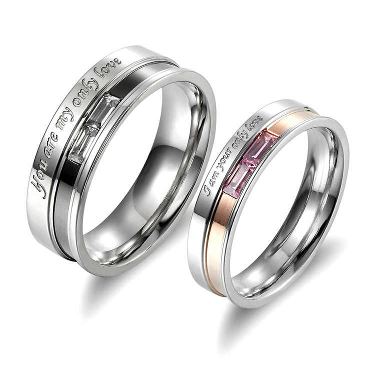 "Classic Stainless Steel Crystal Couple Ring Men and Women's Wedding Ring Set ""You are my only Love"" Stamped Ring 1 PCS"