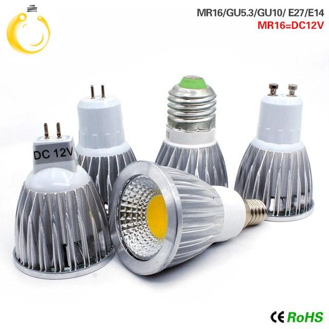 Cob ledスポットライト 9 ワット 12 ワット 15 ワットledライトE27 E14 GU10 GU5.3 220v MR16 12v cob led電球ウォームホワイトコールドホワイトランパーダledランプ