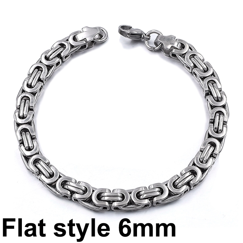 Gokadima New Product, Silver Color Stainless Steel bracelets Link Byzantine Chain Bracelet For MENS Jewelry Fashion Good quality 10