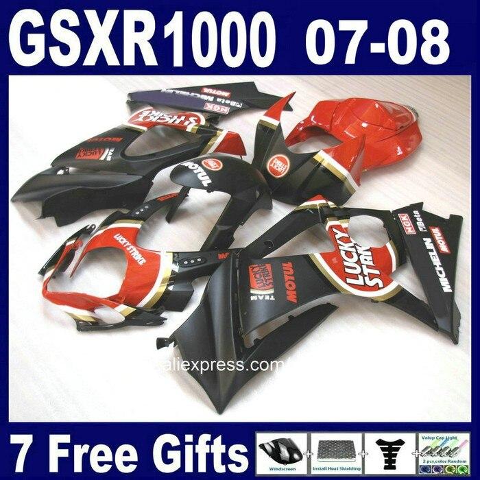 7 бесплатных подарков Пластиковый обтекатель комплект для SUZUKI K7 07 08 GSXR1000 черный красный LUCKY STRIKE обтекатели GSXR 1000 2007 2008 CB7