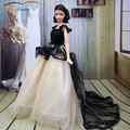 Top! Doll Dress Sexual Long Tail's Evening Gown Purely Manual Clothes Lace Wedding Dress for Barbie Dolls with Cute Wings