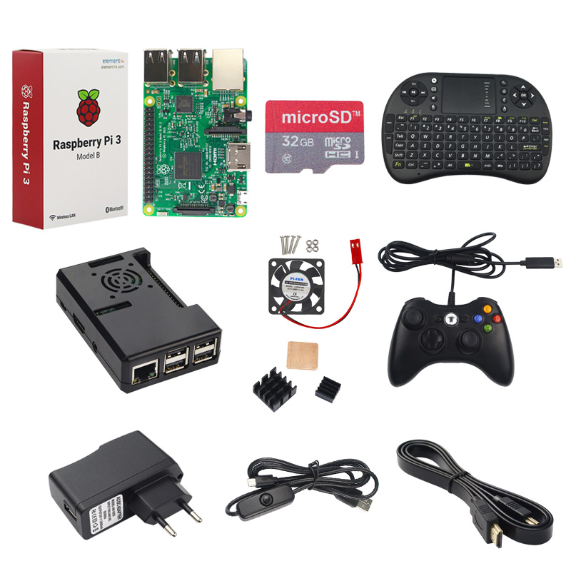 Raspberry Pi 3 Model B + Game Controller + 32G SD Card + 2.5A Power Supply + Keyboard + Heat Sink +Fan + HDMI Cable RPI Game Kit icon sd card power walking l1