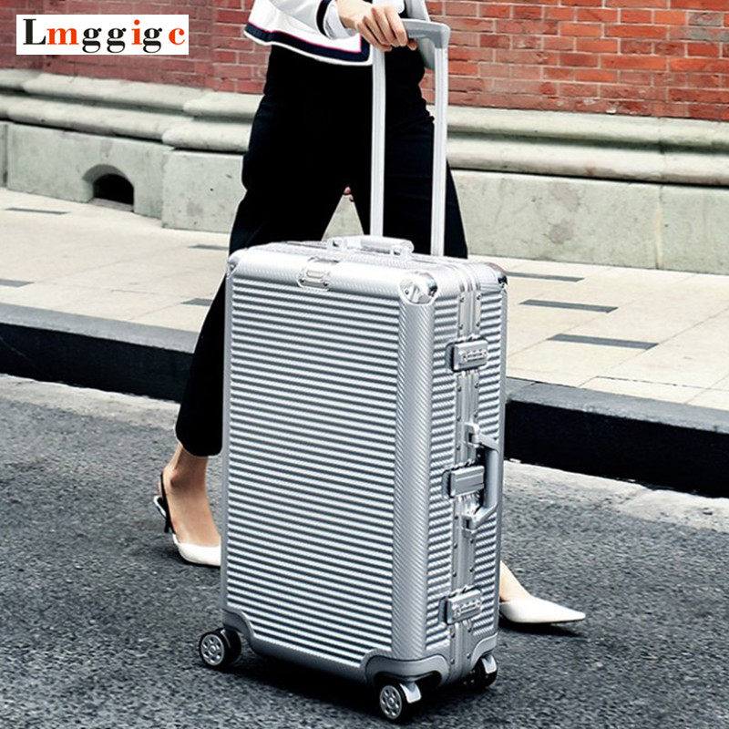 купить Aluminum frame+PC Rolling Luggage Bag,New Travel Suitcase with wheel,Men Trolley Case,Women Multiwheel Carry-On,20