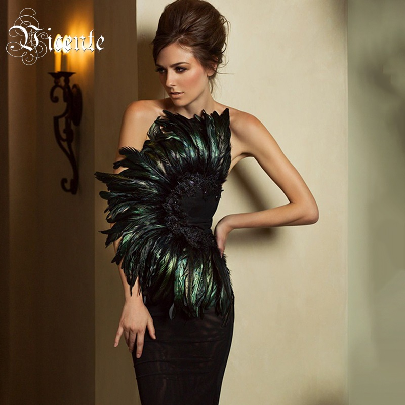 Vicente 2019 New Trendy Elegant Feather Design Sexy Strapless Backless Sleeveless Celebrity Party Club Bandage Mini