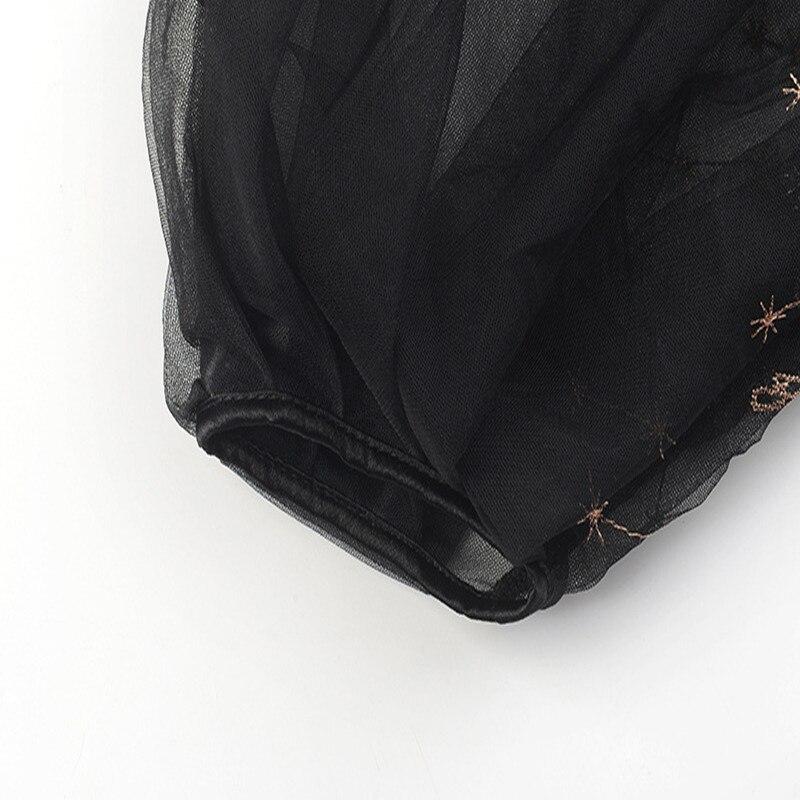 New Broderie En Conception Black Summer Sexy Mest shirt T Fleurs À Top Tricot 2019 Sruilee Piste Voir Pour Femme Travers Pull 4pTzzqO