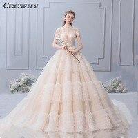 CEEWHY высокое средства ухода за кожей шеи Винтаж свадебное платье Дубай ленточки свадебное платье для принцессы Шампанское Vestido de Noiva Longo Robe de
