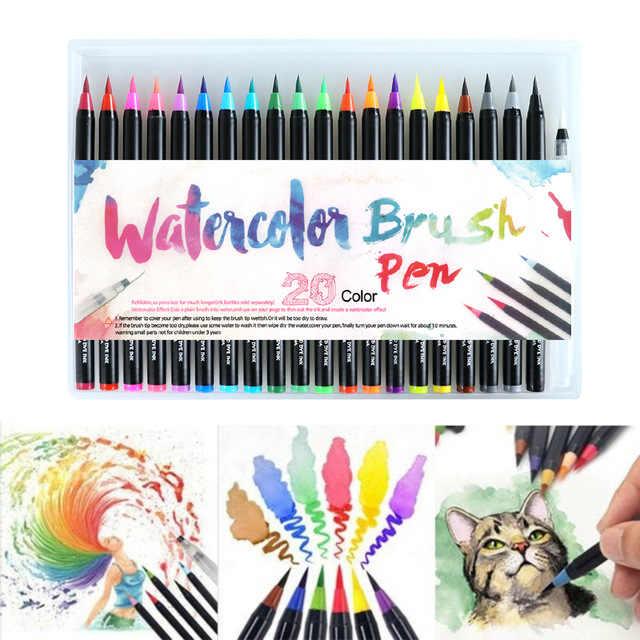48 Piezas Colores Arte Marcador Acuarela Pincel Bolígrafos