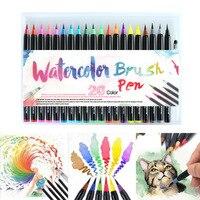 20 шт цветов художественные маркеры, фломастеры кисти ручки для школы принадлежности писчая, для рисования книги раскрашивания манга каллиг...