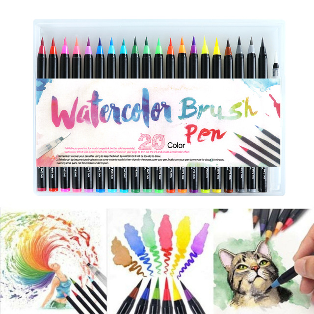 20/24/48PCS Watercolor Brush Marker  Pen  Art Felt Painter Calligraphy Supplies Lettering Colouring Brush Pens Sets