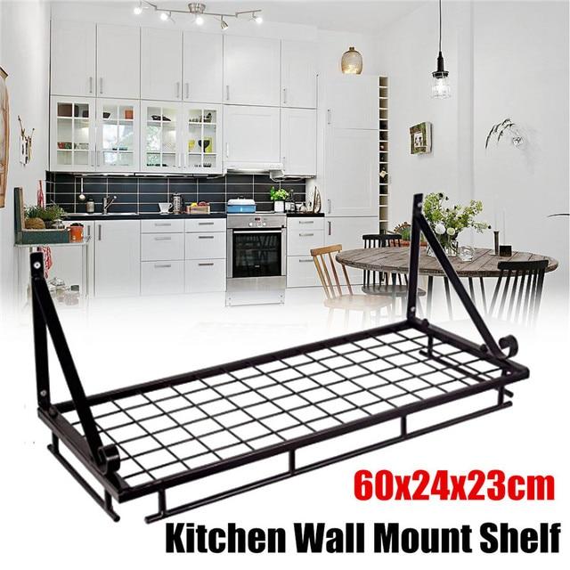 Pot Shelf Wall Mount Hanging Pan Saucepan Storage Kitchen Utensil Holder 10 Hook Bathroom Shower Towel