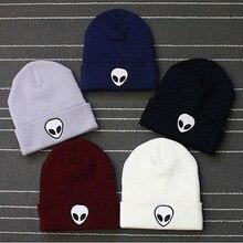 Лидер продаж, шапка с вышивкой пришельца, зимние шапки с манжетами для мужчин и женщин, мягкие однотонные шапки в стиле хип-хоп, теплые трикотажные шапки унисекс, Gorros De Lana