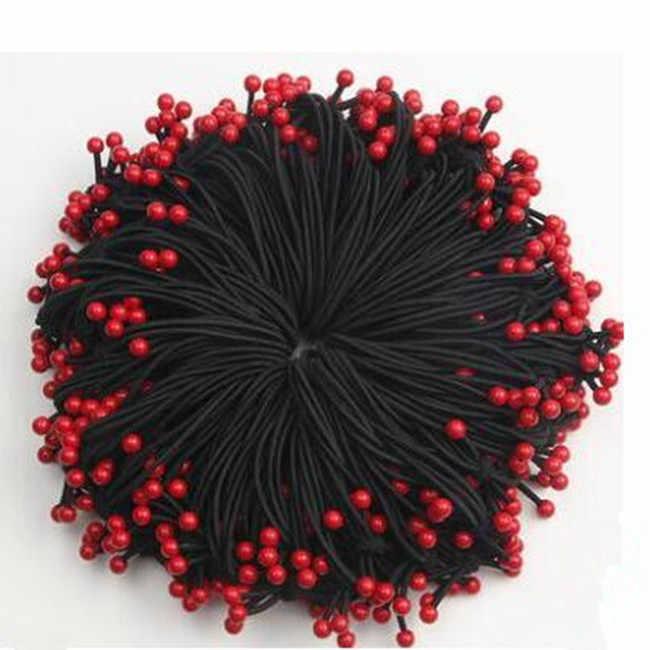 Tx004 version coréenne de l'arc perles rouges haute tête élastique corde cheveux anneau femme bandeau cravate douce femelle coiffure