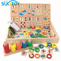 SUKIToy Kid's Soft Wooden Math Educational Toy With Blackboard number cards for children number learning drawing set SK026|montessori math|math educational toys|wooden math -