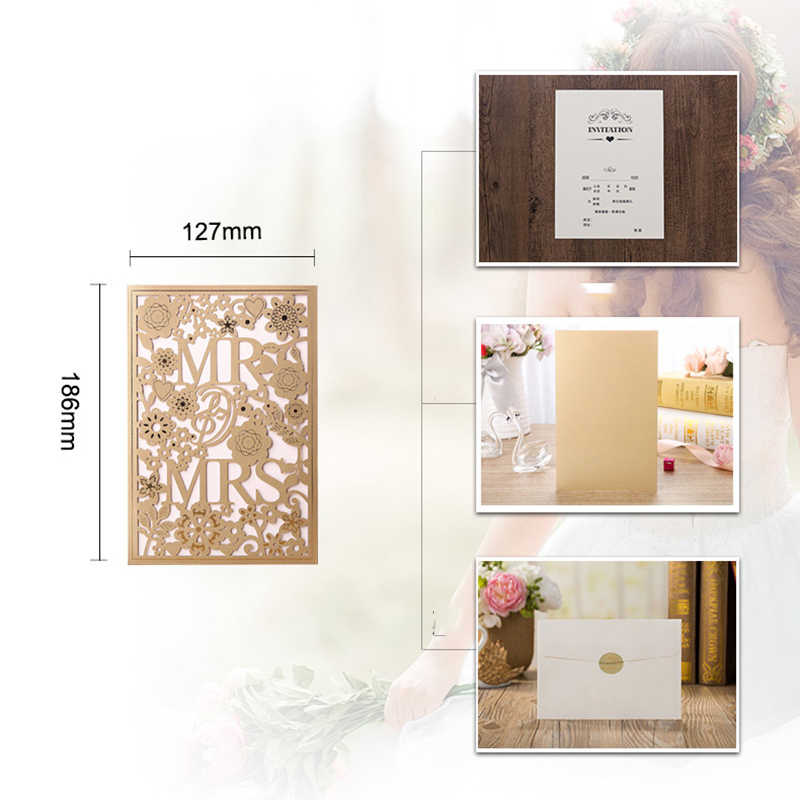 1pcs White Gold Blue Laser Cut Wedding Invitations Card MR&MRS Elegant Greeting Cards Envelopes Wedding Party Favors Decoration
