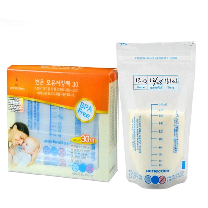 30pcs Baby Feeding Sterilised Breast Milk Storage Freezer Bags 200ML