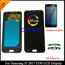 Tested AMOLED For Samsung J5 Pro 2017 J530 LCD Display For Samsung J5 2017 J530 LCD Screen Touch Digitizer Assembly + Adhesive