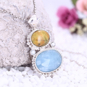 Private custom Natural Stone Oval Yellow Opal With Faceted Blue Aquamarine Silver buckle Sterling 925 silver trim Pendant