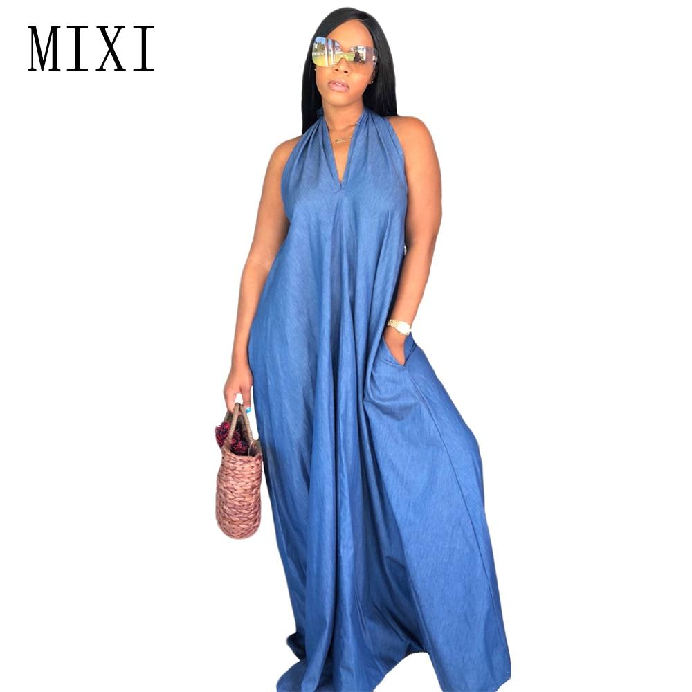 MIXI Plus Size Women Casual Denim Dresses Summer Halter V Neck Sleeveless Jeans Long Dress Sexy Backless Loose Beach Maxi Dress