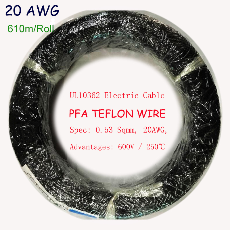 UL10362 20AWG Heat Resistable PFA Teflon Wire 600V Tinned Copper 0 54mm2 Electric Wire Lamp Lighting