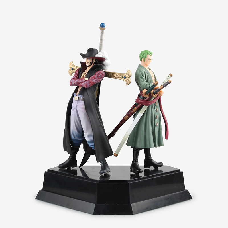 New One Piece Roronoa Swords Katana Zoro Dracule Mihawk PVC Action Figure Model Toy Mentoring Combination 24 CM Anime Figurine one piece action figure roronoa zoro led light figuarts zero model toy 200mm pvc toy one piece anime zoro figurine diorama
