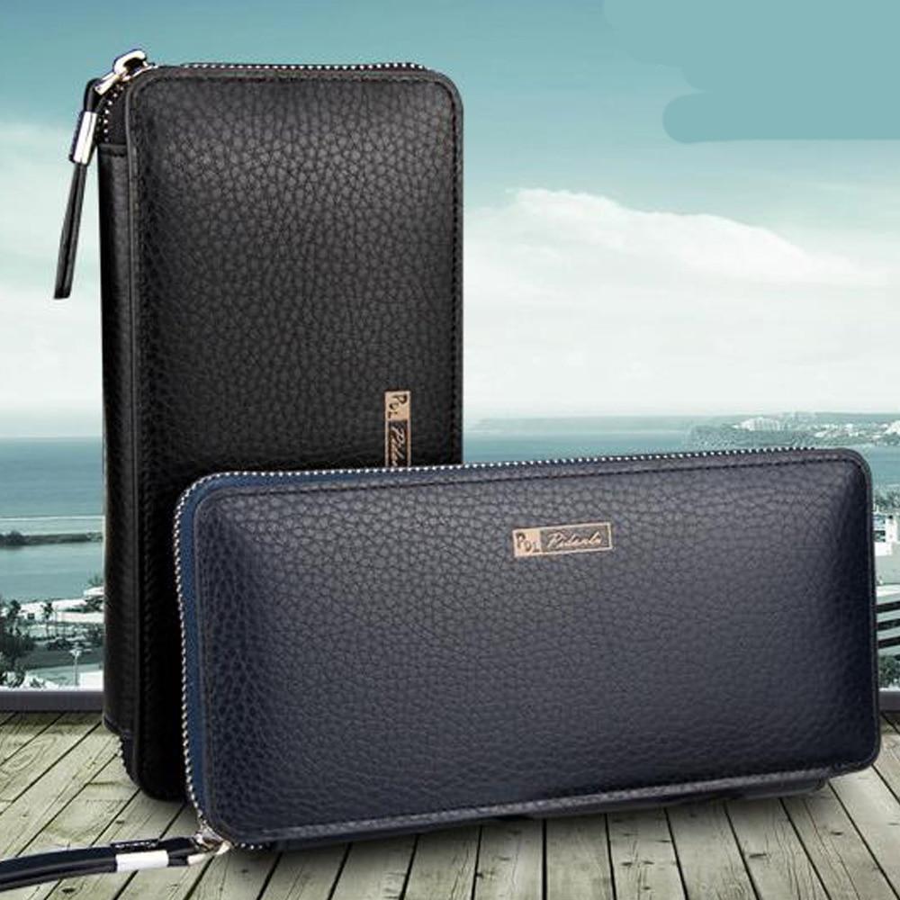 Äkta Läder Lång Design Plånbok Män Multi-Card Bit Wallet Högkvalitativ Day Clutch Carteira Masculina Zipper Myntväska