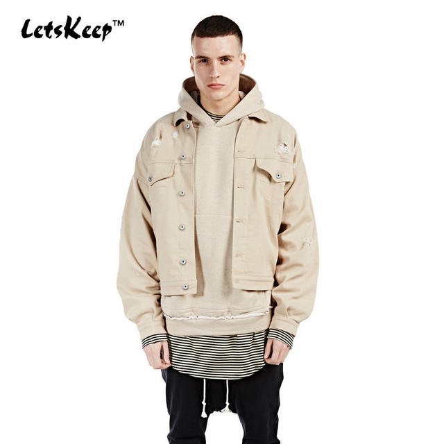 2017 New LetsKeep Mens khaki jackets beige bomber denim jacket coats for male hiphop casual chaqueta hombre Kanye West, MA099