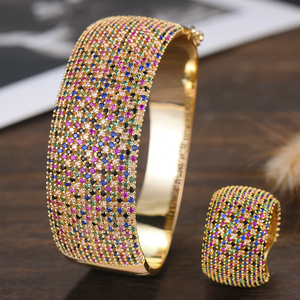 Image 1 - GODKI Wide Luxury Tennis Bangle Ring Sets Jewelry Sets For Women Wedding Cubic Zircon Crystal CZ aretes de mujer modernos 2019