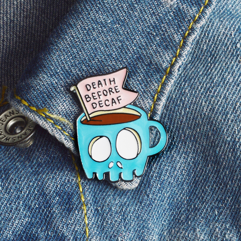 QIHE-JEWELRY-Blue-Skeleton-Coffee-Pins-Lapel-pins-Badges-Brooches-for-men-women-Punk-jewelry-Funny