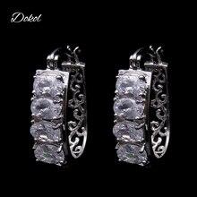DOKOL New Fashion AAA+ Cubic Zirconia Hoop Earrings Top Quality Silver Color Earring for Women boucle d'oreille DKE0034