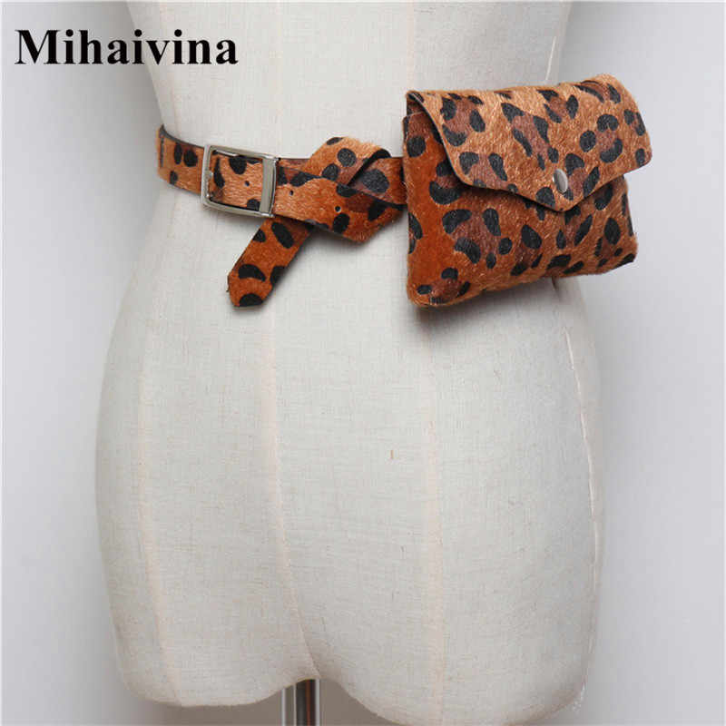 Mihaivina ヒョウ女性のファッションベルトバッグ旅行ウエストパック財布革ウエストポーチヴィンテージ女性ファニーパック 6 色