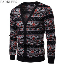 Ugly Christmas Cardigan Sweater Men V Neck Deer Printed Male Black Patchwork Knit Sweaters Casual Fit Xmas Jumper Pull Homme Top