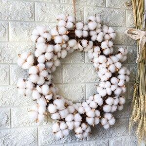Image 3 - Couronne de fleurs sèches en coton vraies, décoration pour couronne de noël en rotin faite main, pour fêtes, Festival, mariage, pour maison, D19 pouces
