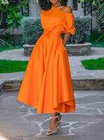 2019 Casual Long Dress Women Summer One Shoulder Sexy Fashion Street Travel High Waist Robe Ladies Big Swing Elegant Day Dresses