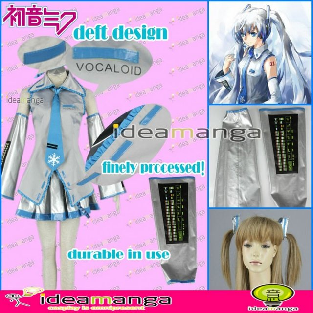 [ideamanga]Manga Amime V+ VOCALOID  Snow Hatsune Miku  Snow  girl's Cosplay Costume Female halloween party dress Any Size