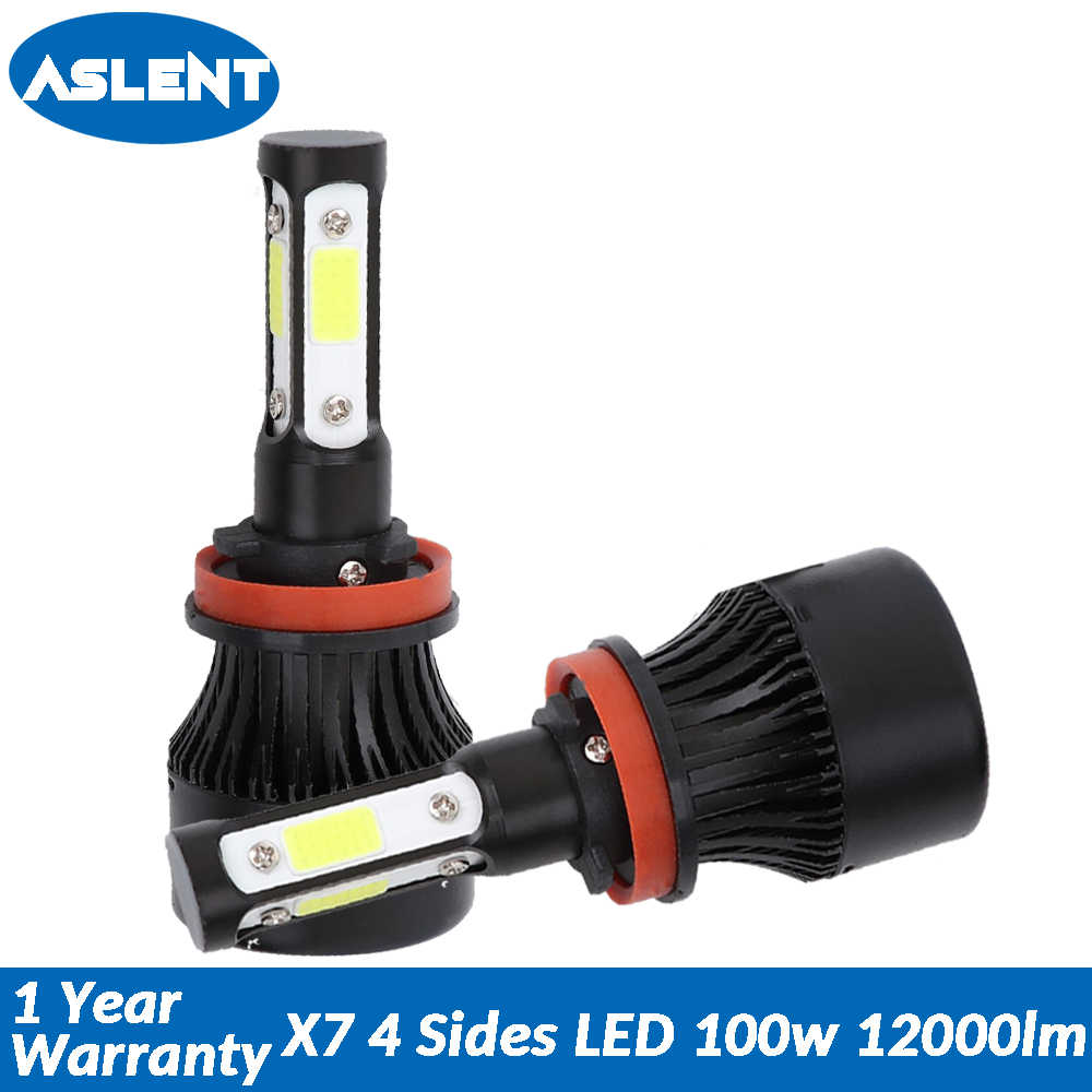 Aslent New 4 Side COB 100W 12000lm led H7 H4 Hi lo H11 9005 9006 9004 9007 Car LED Headlight Bulbs Auto Headlamp Light 12v 24v