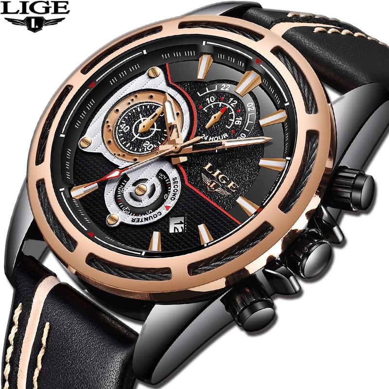 2018 Mens Watch Brand LIGE Trendy Sports Watches Luxury Chronograph Leather Waterproof Fashion Casual Quartz Wristwatches+ Box цена 2017